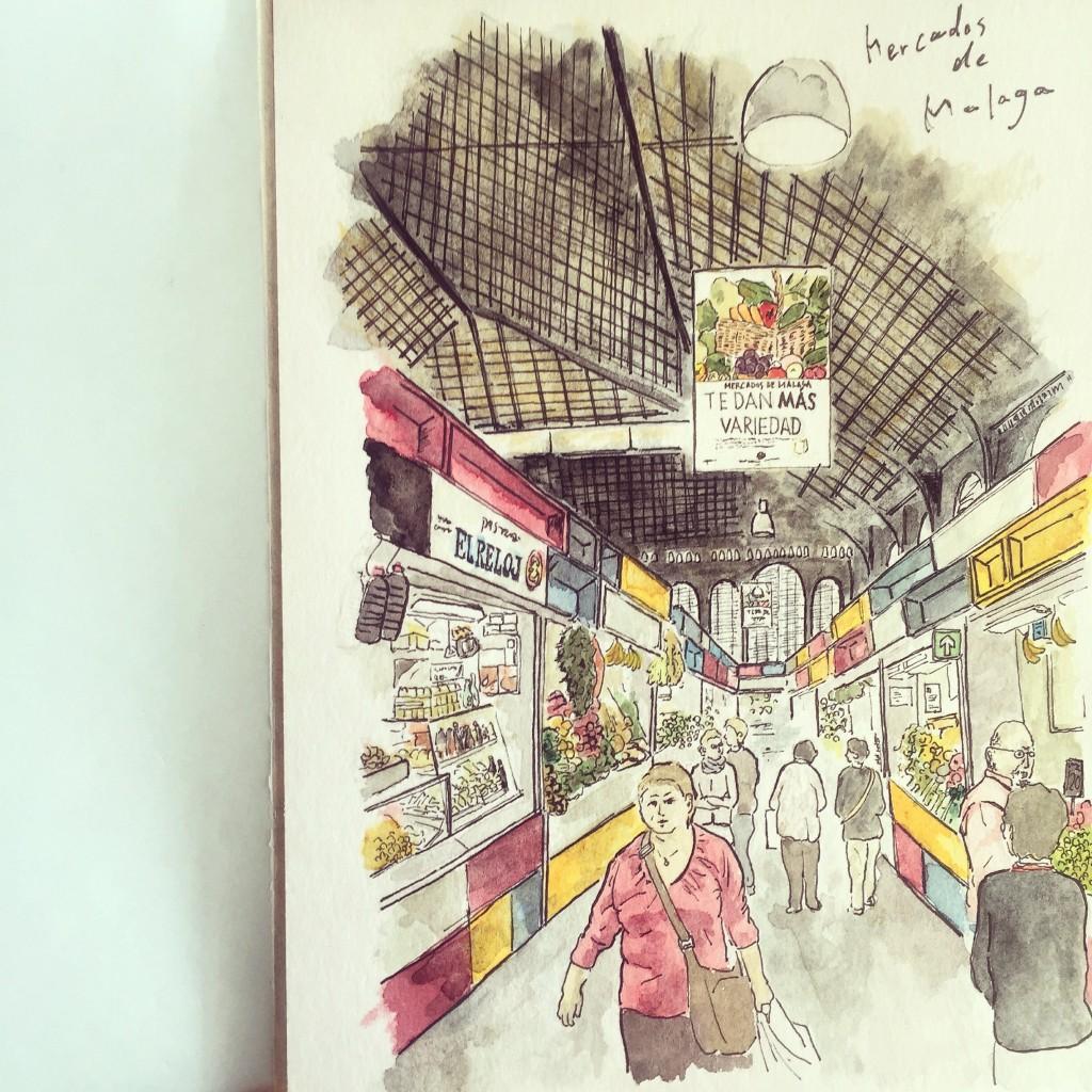 """Urban Sketch """"Mercados de Malaga"""" / アーバンスケッチ マラガ市場"""