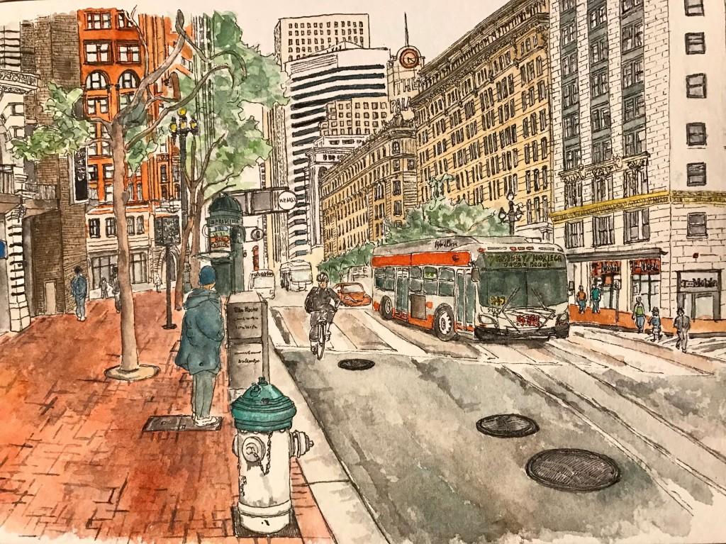 Urban Sketch in Market Street SF / アーバンスケッチ マーケットストリート
